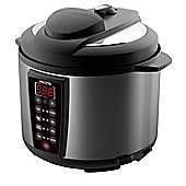electriQ 7-in-1 Electric Pressure Cooker, 6 Litre, 1000 W, Brushed Stainless Steel/Black