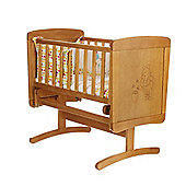 Disney Winnie the Pooh Gliding Crib & Mattress - Country Pine