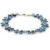 QP Jewellers 7.5in 20.70ct Blue Topaz Blossom Bracelet in 14K Gold