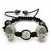 Silver Plated Swarovski Crystal Skull and Hematite Bead Shamballa Bracelet - Adjustable - 23mm Diameter