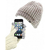 Audio Beanie Creamy/Grey/Carnation & Gold Lurex Thread