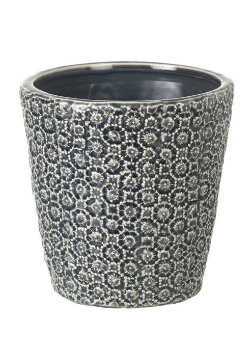 buy parlane pretty dark grey ceramic 39 maya 39 flower plant. Black Bedroom Furniture Sets. Home Design Ideas