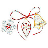 Portmeirion Christmas Wish Tree Decorations, Snowflake, Bell, Bauble