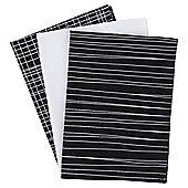 Tesco Basics Pack of 3 Black & White Check Tea Towels