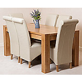Kuba Chunky Solid Oak 180 cm Dining Table with 6 Ivory Montana Leather Chairs