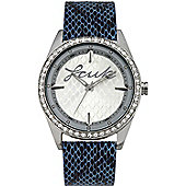 French Connection FCUK Ladies Leather Stone Set Watch FC1061SSBL