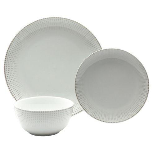 Boston 12 piece Dinner Set, Silver