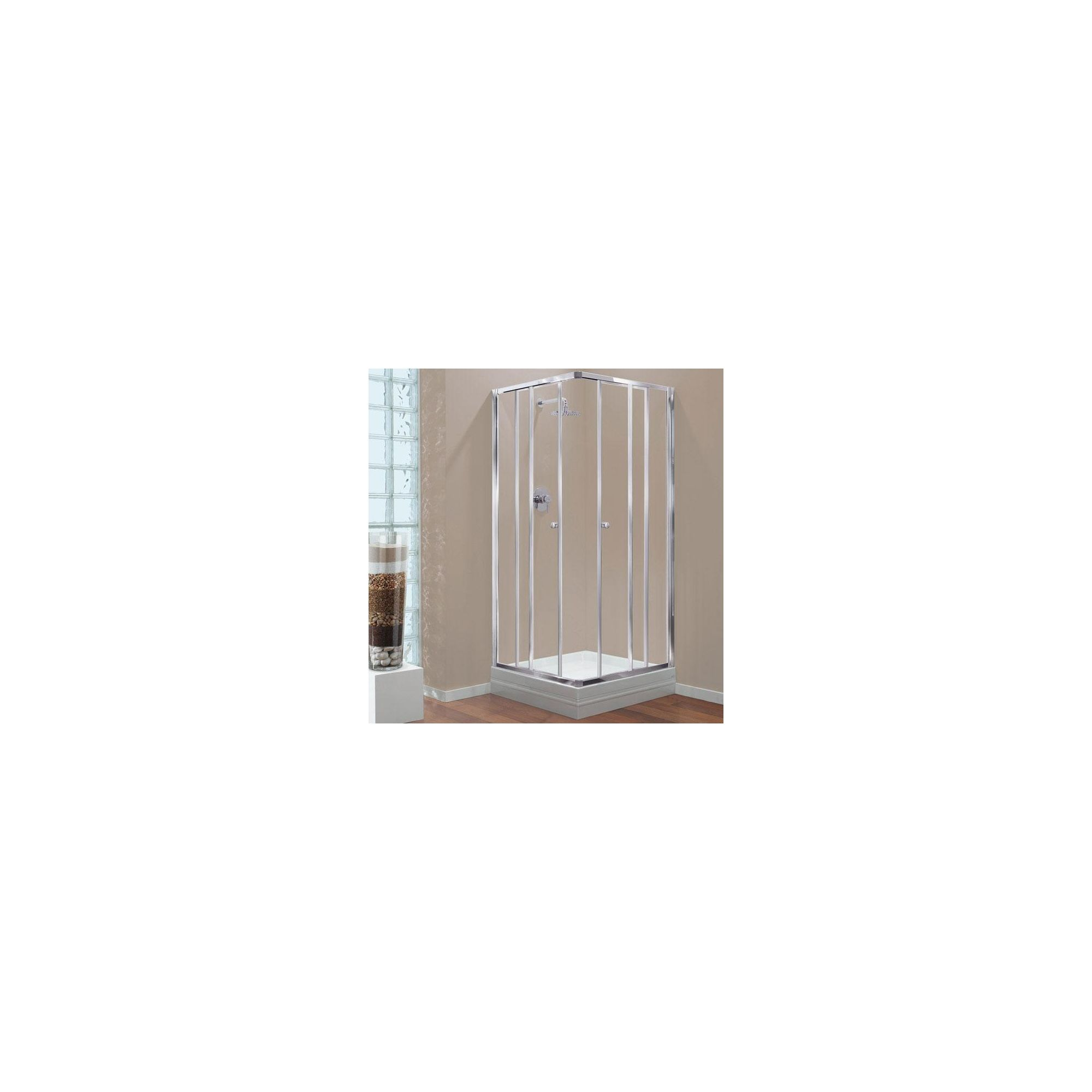 Coram GB Corner Entry Door Shower Enclosure, 760mm x 760mm, Standard Tray, 4mm Glass, Chrome Frame at Tesco Direct