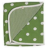 Pigeon Organics Spotty Reversible Blanket Green 70x70cm