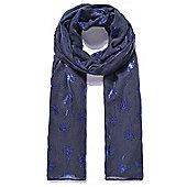 Navy Blue Dandelion Silver Foil Print Long Scarf