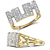 Jewelco London 9ct Solid gold super light weight CZ set Mum Ring