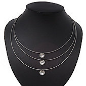 3 Strand Wire Floating CZ Magnetic Necklace In Silver Plating - 38cm Length