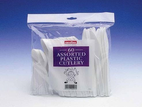 White Plastic Cutlery - Assorted Party Pack, Pack of 60
