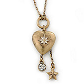 Vintage Inspired Heart Locket With Crystal & Star Dangle On Long Gold Tone Chain - 68cm Length/ 7cm Extension