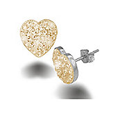 Jewelco London Sterling Silver Crystal Champagne Peach Heart Earrings - Heart Shaped