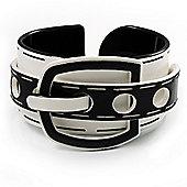 Stylish Chunky Acrylic Belt Cuff Bangle (White & Black) - up to 18cm wrist