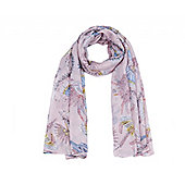 Pink Bird of Paradise Print Long Scarf