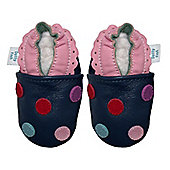 Dotty Fish Soft Leather Baby Shoe - Navy Multicoloured Spotty - Navy