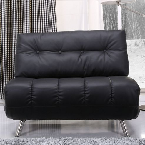 Leader Lifestyle Romeo S 1 Seater Convertible Sofa Clic Clac Bed - Black Leather