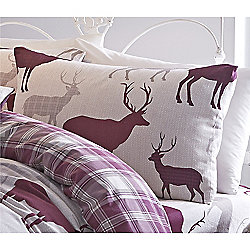 Catherine Lansfield Home Cosy Corner Mulberry Grampian Stag Pillowcases