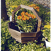 Basket - Solid Wood Garden Flower Planter / Pot - Burntwood