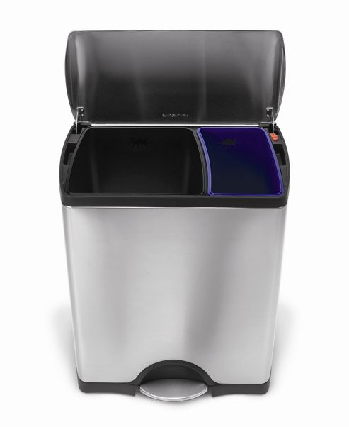 simplehuman 30/16 Litres Classic Rectangular Recycler in Brushed Stainless Steel