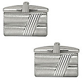 Brushed and Ribbed Rectangle Cufflinks