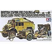 British 25PDR.Field Gun & Quad Gun Tractor - 1:35 Military - Tamiya