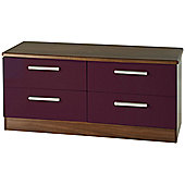 Welcome Furniture Knightsbridge 4 Drawer Chest - Walnut - Aubergine