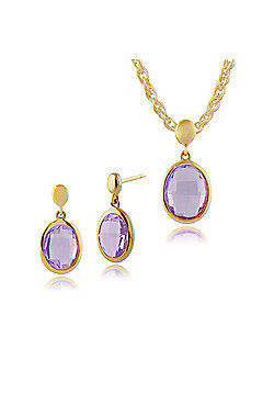 Gemondo 9ct Yellow Gold Purple Amethyst Luminosity Drop Earrings & 45cm Necklace Set
