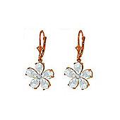 QP Jewellers Diamond & Aquamarine Flower Leverback Earrings in 14K Rose Gold