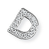 Jewelco London 9ct White Gold - Diamond - D' Initial Charm Pendant -