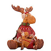 Large Sitting Reindeer & Child Resin Christmas Ornament Design B