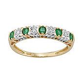 Gemondo Emerald Half Eternity Band Ring, 9ct Yellow Gold 0.27ct Natural Emerald & 2pt Diamond Ring