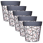 5 x Single 22cm Grey Geometric Plastic Garden Planter 5L Flowerpot by Hum