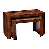 Indian Hub Cube Sheesham Nest of Two Tables