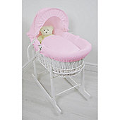 Cuddles Collection White Wicker Moses Basket (Waffle Pink)
