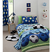 Catherine Lansfield Home Kids Cotton Rich Football Single Bed Cotton Rich Duvet Cover set Blue
