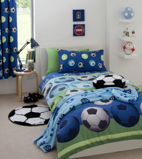 Catherine Lansfield Home Kids Cotton Rich Football Single Bed Cover Set Red