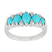 Gemondo 925 Sterling Silver Turquoise Five Stone Ring