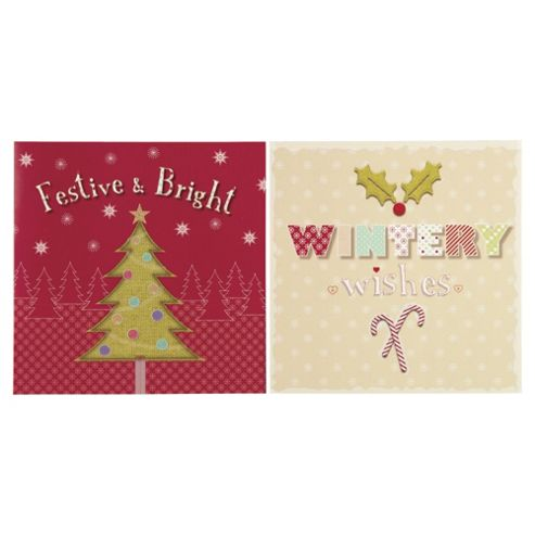 Tesco Festive & Bright Christmas Cards, 12 Pack