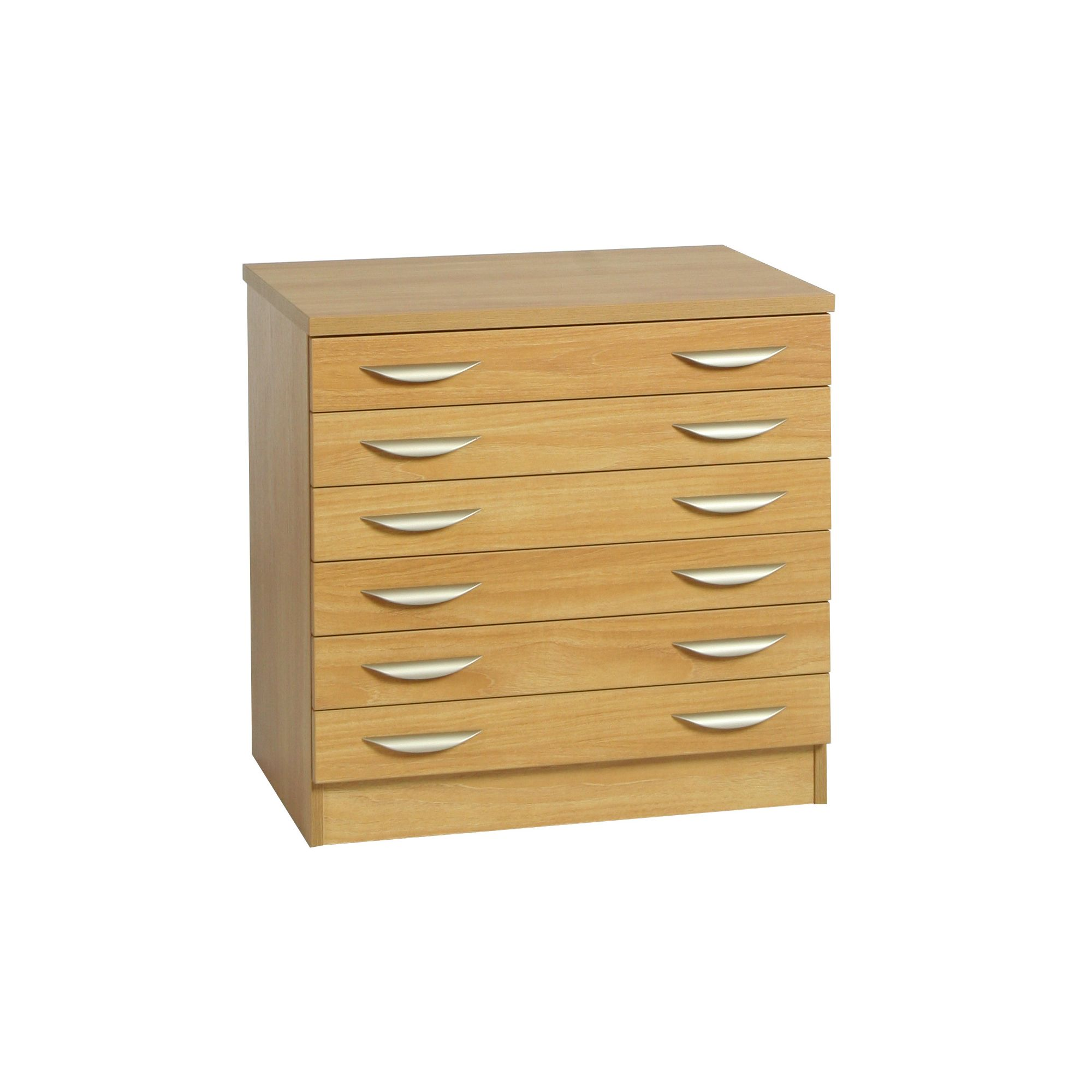 R White Cabinets Six Drawer Wooden Unit - Warm Oak