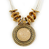 Vintage Oyster White 'Medallion' Pendant Necklace On Leather Style Cords In Burn Gold Metal - 38cm Length/ 7cm Extension