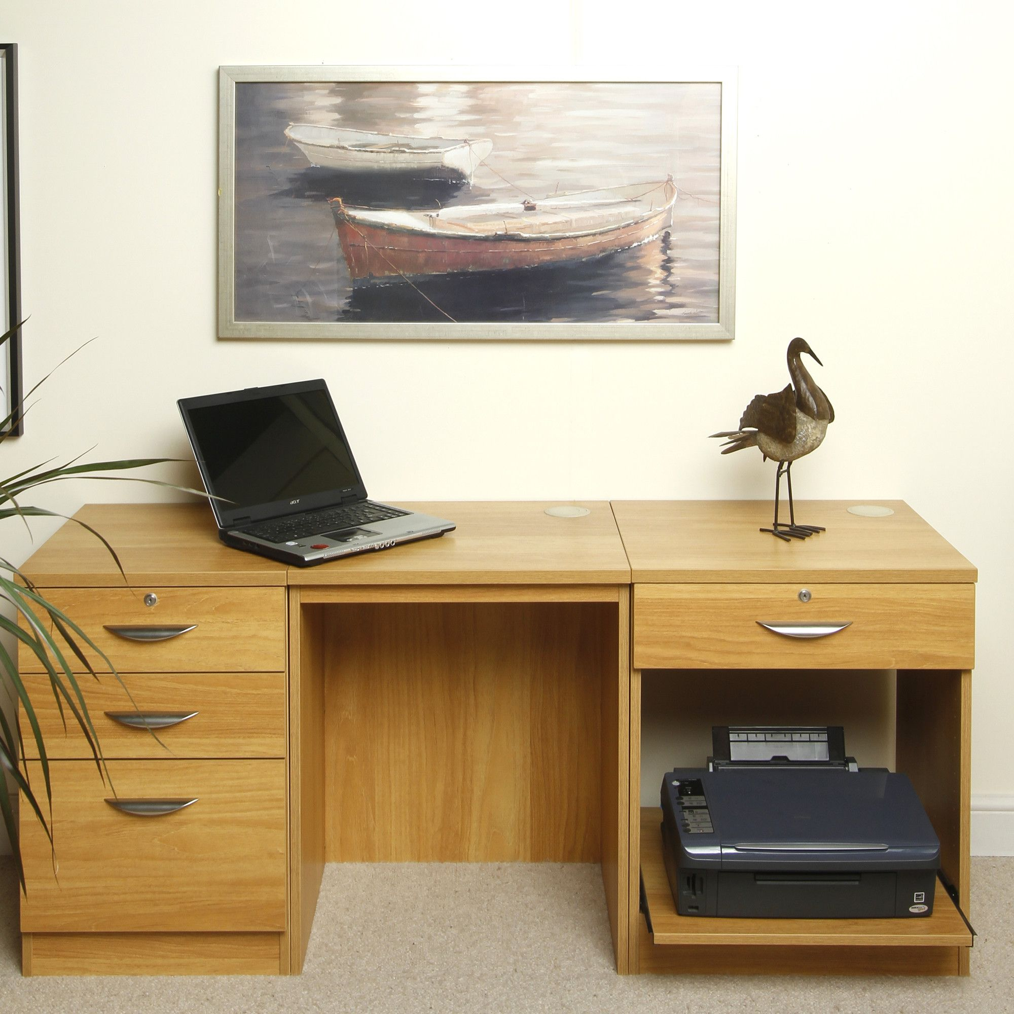 Enduro Home Office Desk / Workstation with Pedestal and Printer Storange - Warm Oak at Tesco Direct