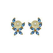 QP Jewellers Blue Topaz & Pearl Ivy Stud Earrings in 14K Gold