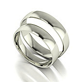 9ct White Gold 4mm Court Wedding Band