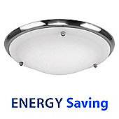IP44 Energy Saving Flush Bathroom Ceiling Light in Brushed Chrome