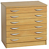 R White Cabinets Six Drawer Wooden Unit - English Oak