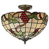 Attractive Tiffany Glass Semi Flush Ceiling Uplighter