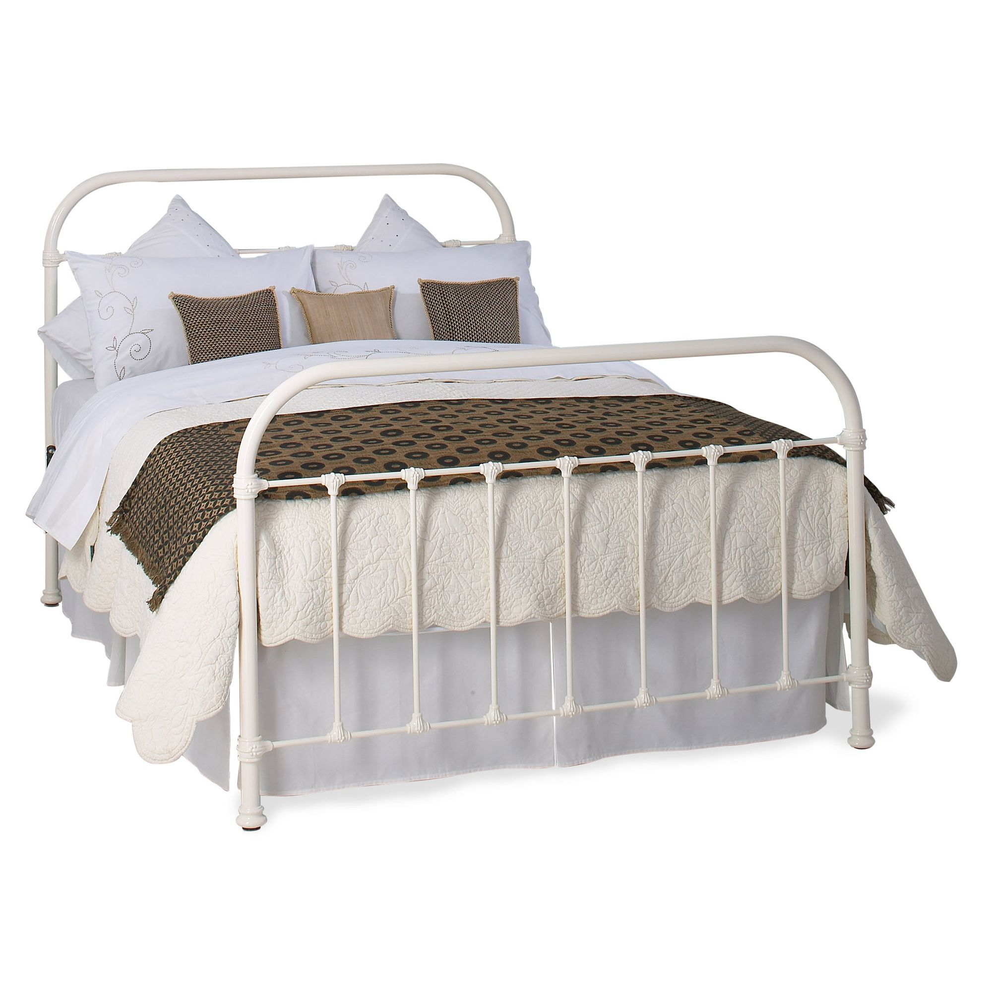 OBC Timolin Bed Frame - Double - Glossy Ivory at Tesco Direct